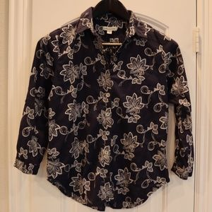 Goldwater Creek Embroidered Shirt Button Down
